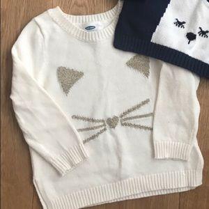 Girls Kitten Sweater EUC Old Navy 18-24 months